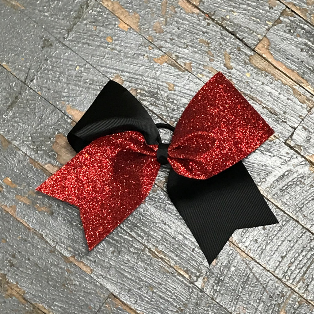 Hair Clip Ribbon Headband Cheer Team Spirit Big JoJo Bow Fine Glitter Red Black