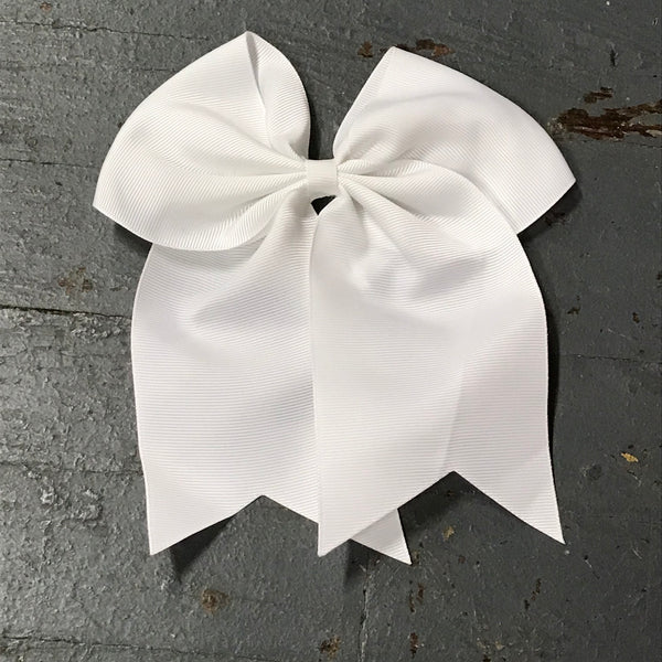 Hair Clip Ribbon Headband Cheer Team Spirit Big JoJo Bow White