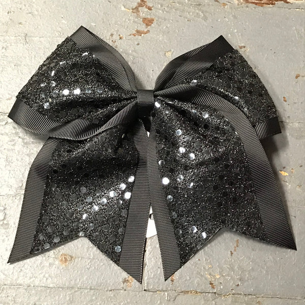 Hair Clip Ribbon Headband Cheer Team Spirit Big JoJo Bow Glitter Black