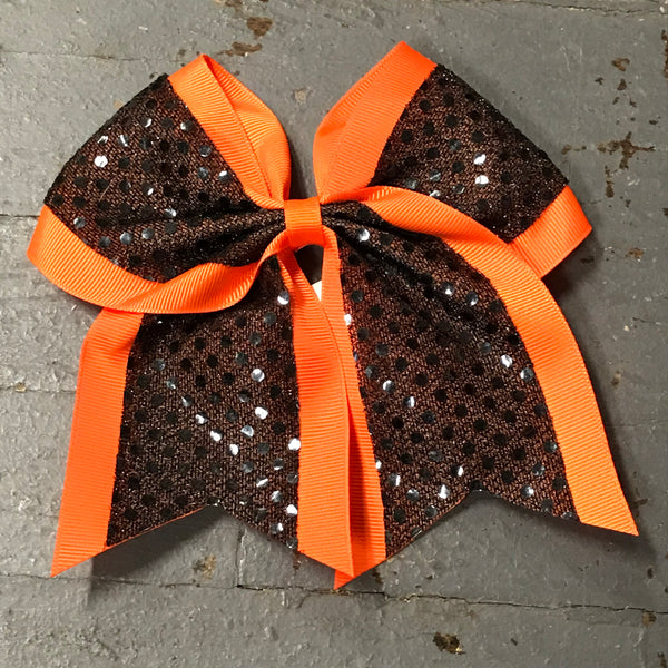 Hair Clip Ribbon Headband Cheer Team Spirit Big JoJo Bow Glitter Orange Black