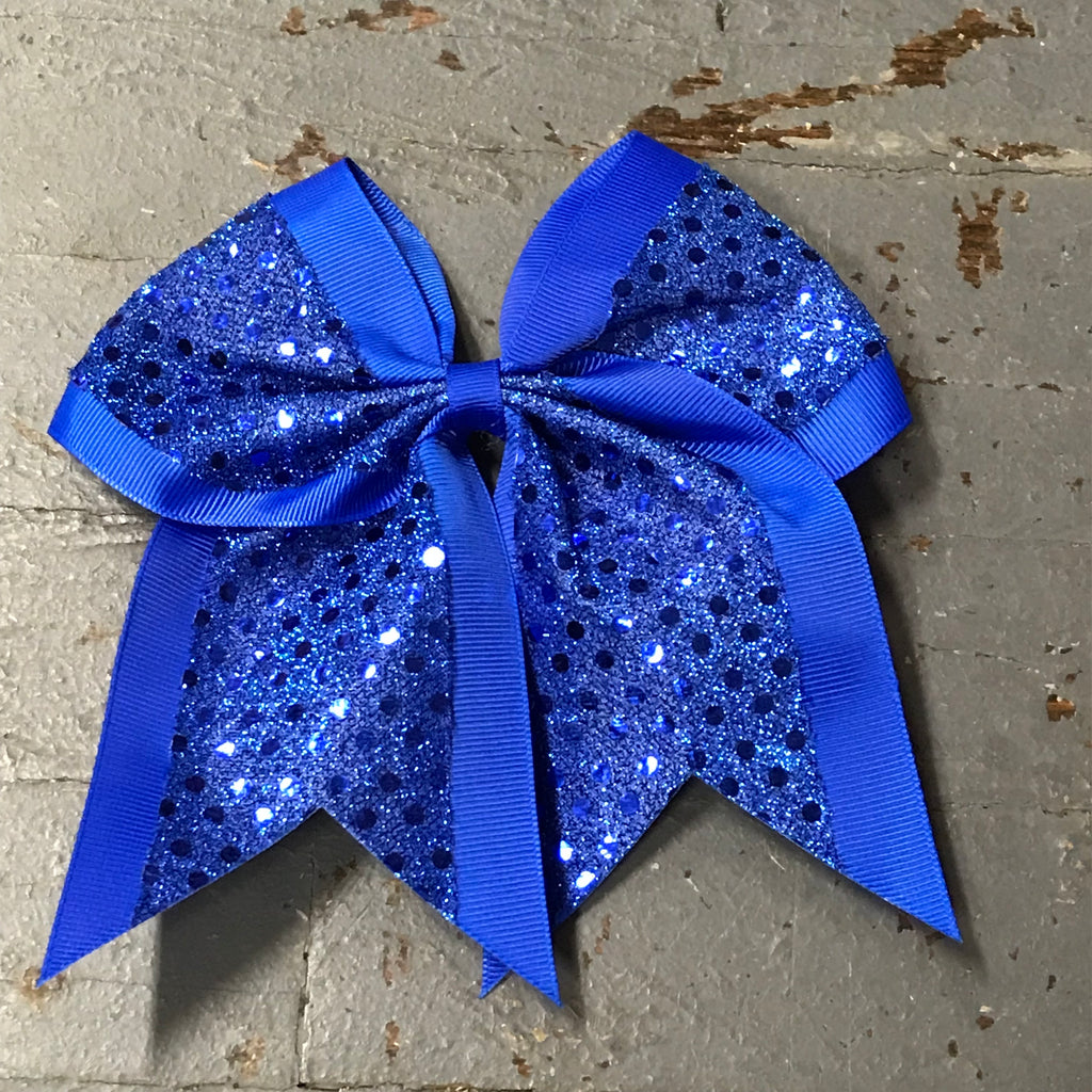 Hair Clip Ribbon Headband Cheer Team Spirit Big JoJo Bow Glitter Blue