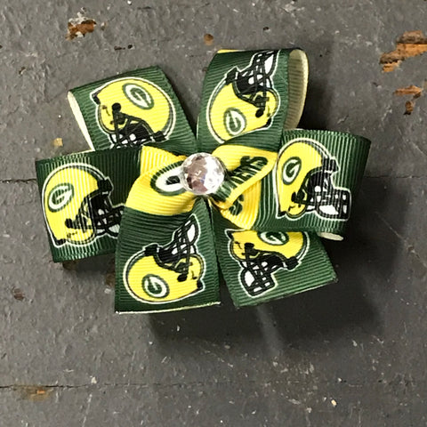 Hair Clip Ribbon Headband Bow Sports Team Football Green Bay Packers