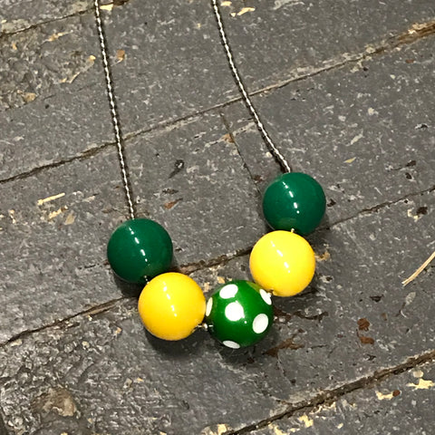 Handmade Chunky Bubble Gum Beaded Chain Necklace Green Yellow