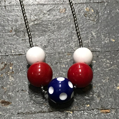 Handmade Chunky Bubble Gum Beaded Chain Necklace Red White Blue