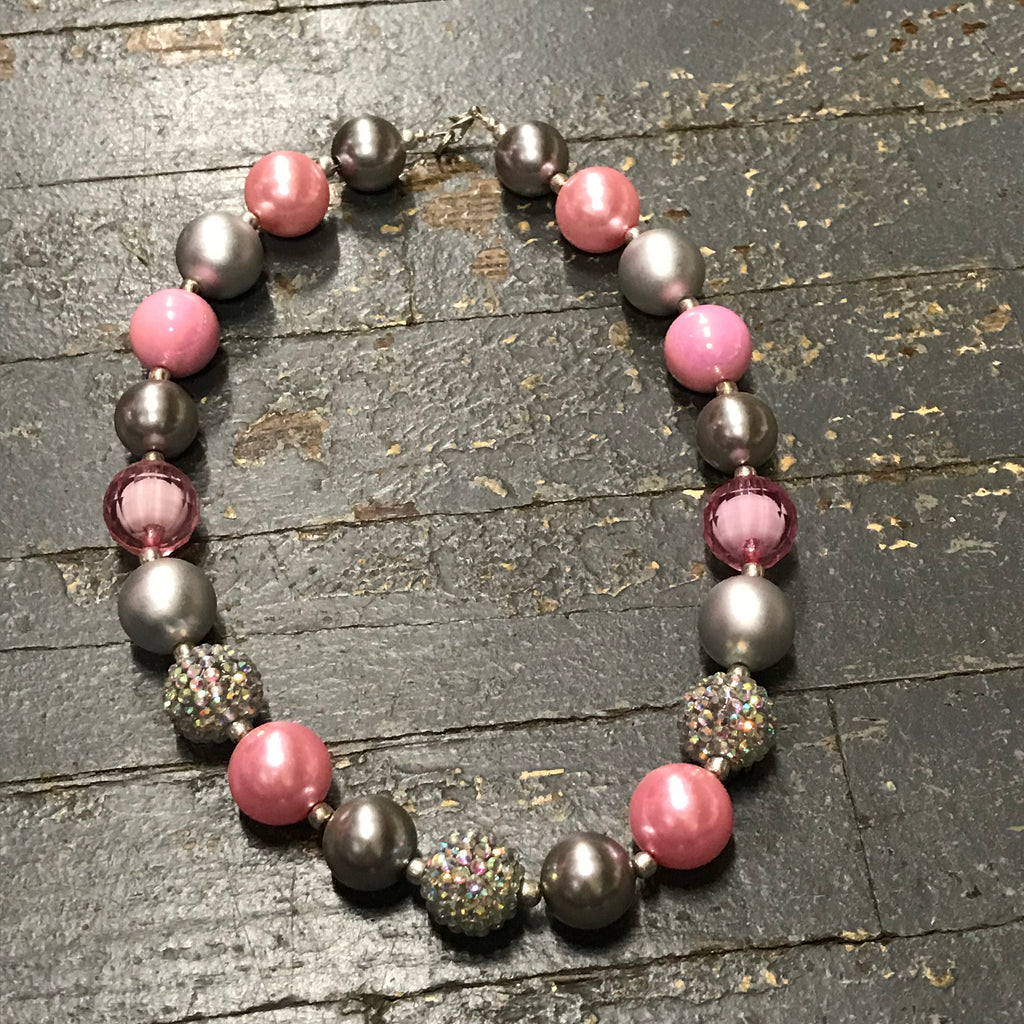 Handmade Chunky Bubble Gum Beaded Necklace Pink Grey White