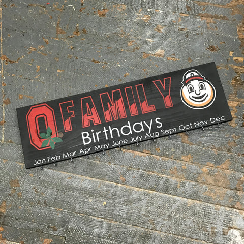 Family Birthday Celebration Calendar Board Hand Painted Wooden Ohio State Buckeyes Sign Brutus