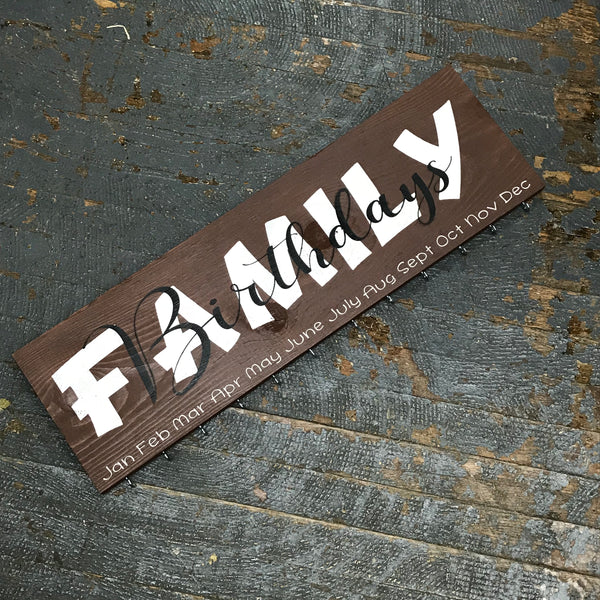 Family Birthday Celebration Calendar Board Hand Painted Wooden Sign Chocolate Brown