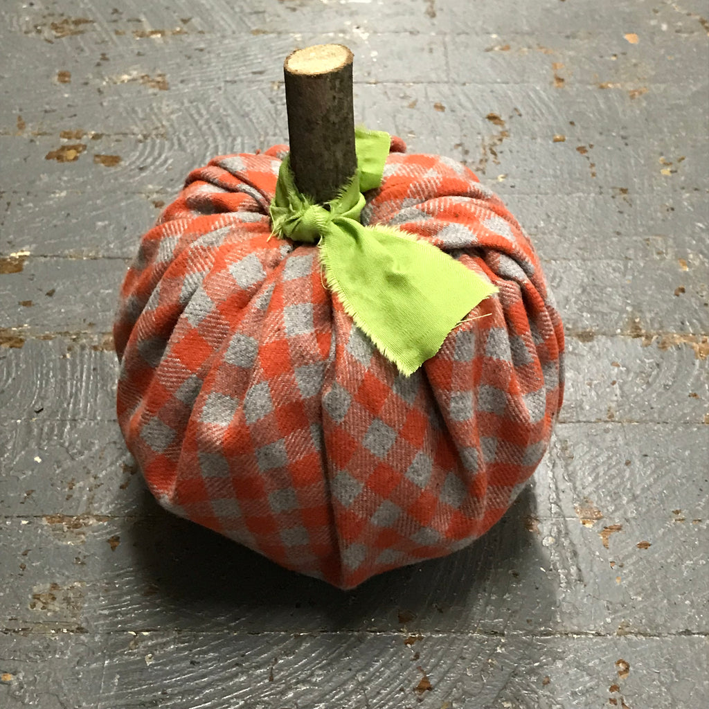 Fall Autumn Fabric Pumpkin Decoration Grey Orange Check