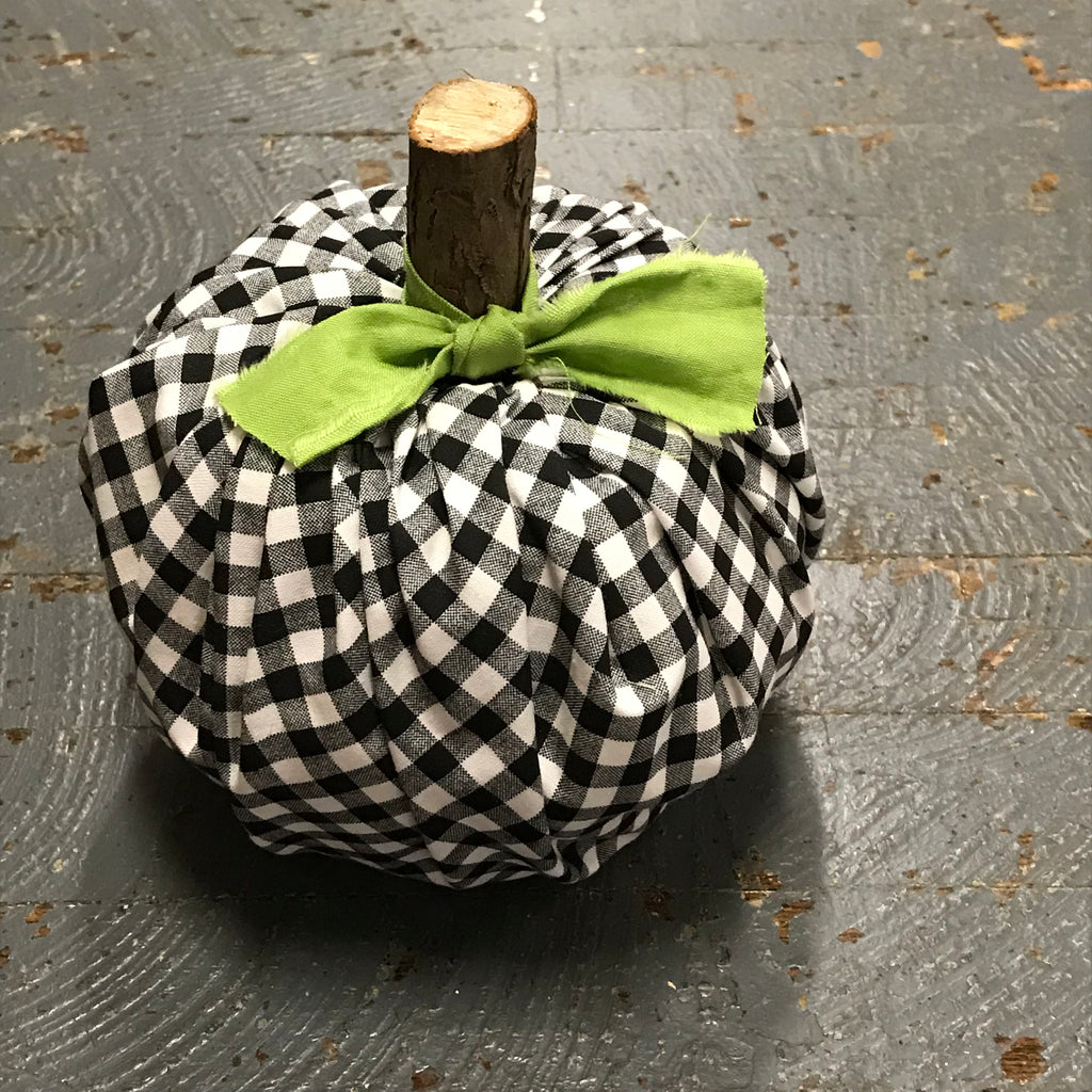 Fall Autumn Fabric Pumpkin Decoration Black White Check