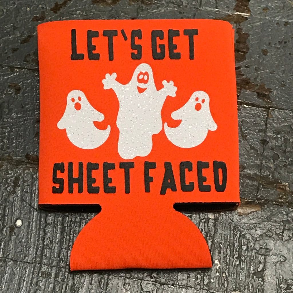 Trick or Treat Halloween Coozie Can Hugger Let's Get Sheet Faced