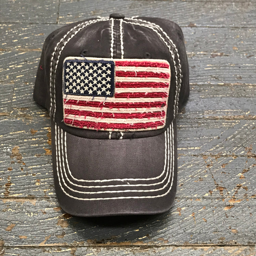 American Flag Patch Faded Gray Embroidered Ball Cap