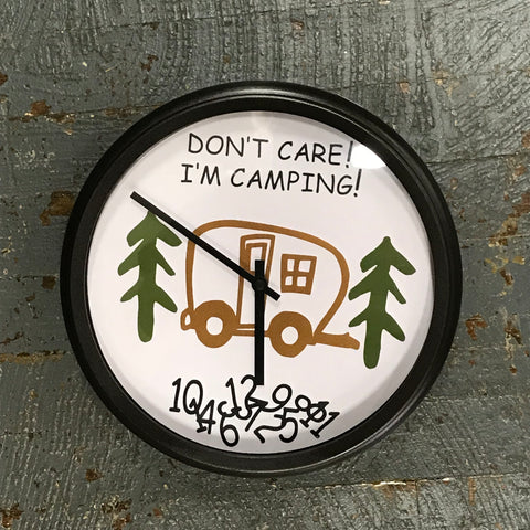 "11.5"" Round Ready to Hang Camper Camping Clock Don't Care I'm Camping Tan"