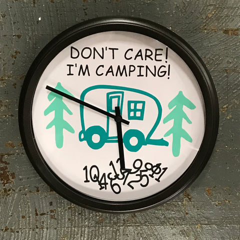 "11.5"" Round Ready to Hang Camper Camping Clock Don't Care I'm Camping Teal"