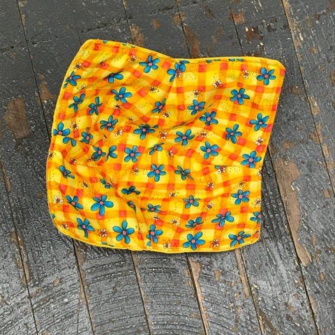 Handmade Fabric Cloth Microwave Bowl Hot Cold Pad Holder Bee Flower Yellow Plaid