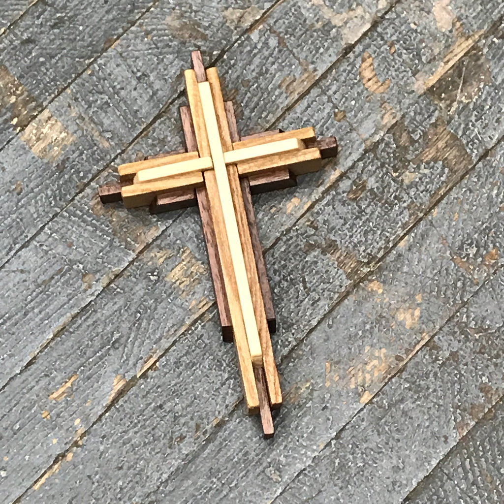 Handmade Layered Dimensional Natural Wooden Resurrection Cross