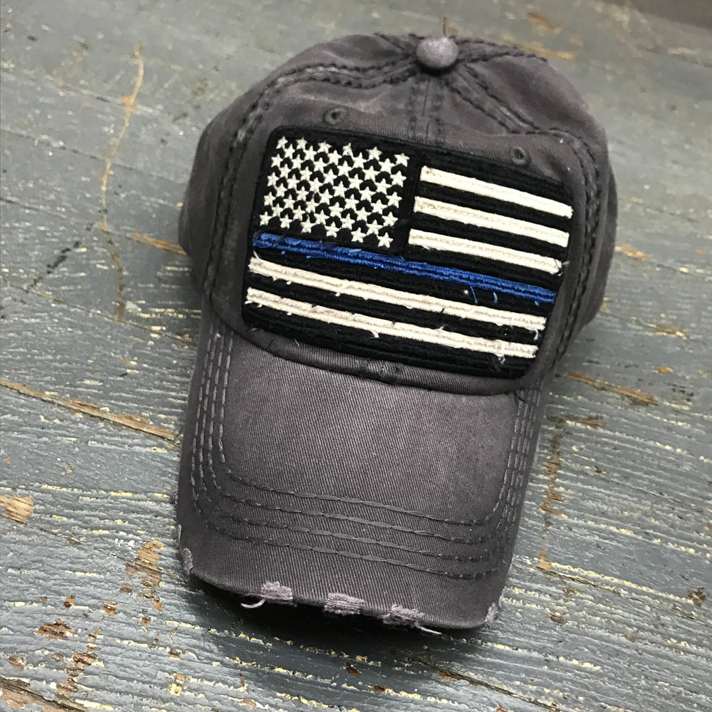 American Flag Blue Line Patch Faded Gray Embroidered Ball Cap