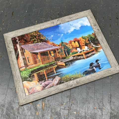 Framed Puzzle Picture Wall Art Lake House Cabin River