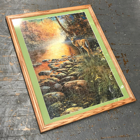 Framed Puzzle Picture Wall Art Deer Harvest River