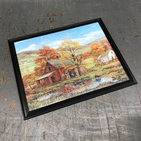 Framed Puzzle Picture Wall Art Farmer Barn Harvest Countryside