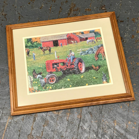Framed Puzzle Picture Wall Art Farmall Red Farm Tractor