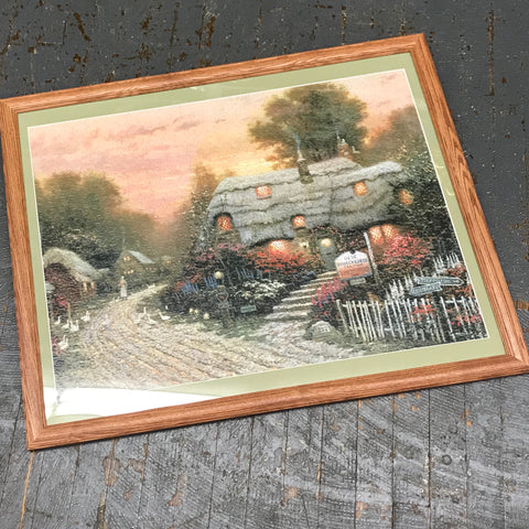 Framed Puzzle Picture Wall Art Thomas Kinkade Cottage Tea Room