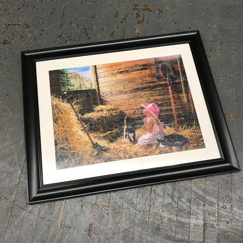 Framed Puzzle Picture Wall Art Farm Girl Barn Hay Mound