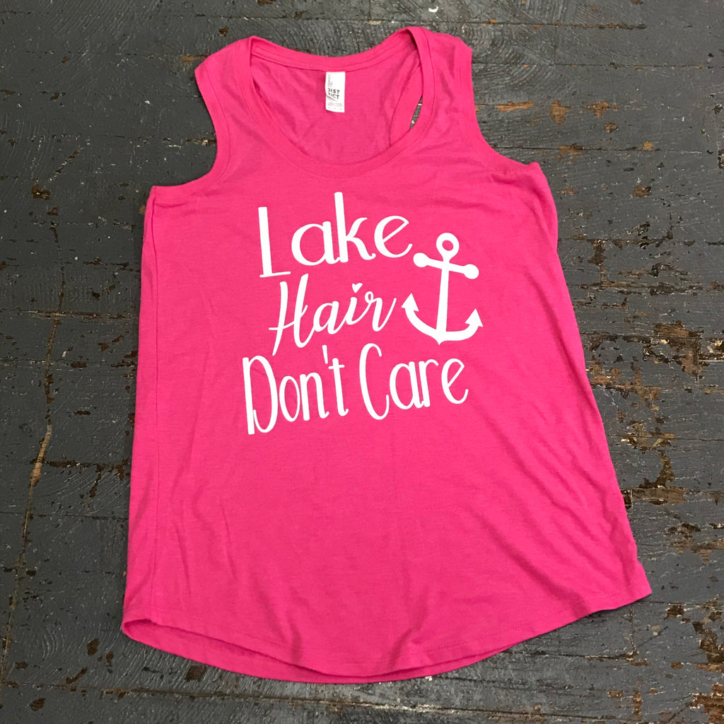Lake Hair Don't Care Short Racerback T-Shirt Berry Pink Graphic Designer Tank