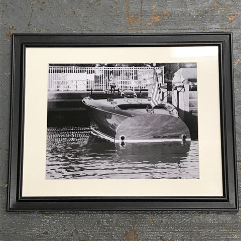 Russells Point Harbor Indian Lake Antique Wooden Boat Framed Photograph 11x14