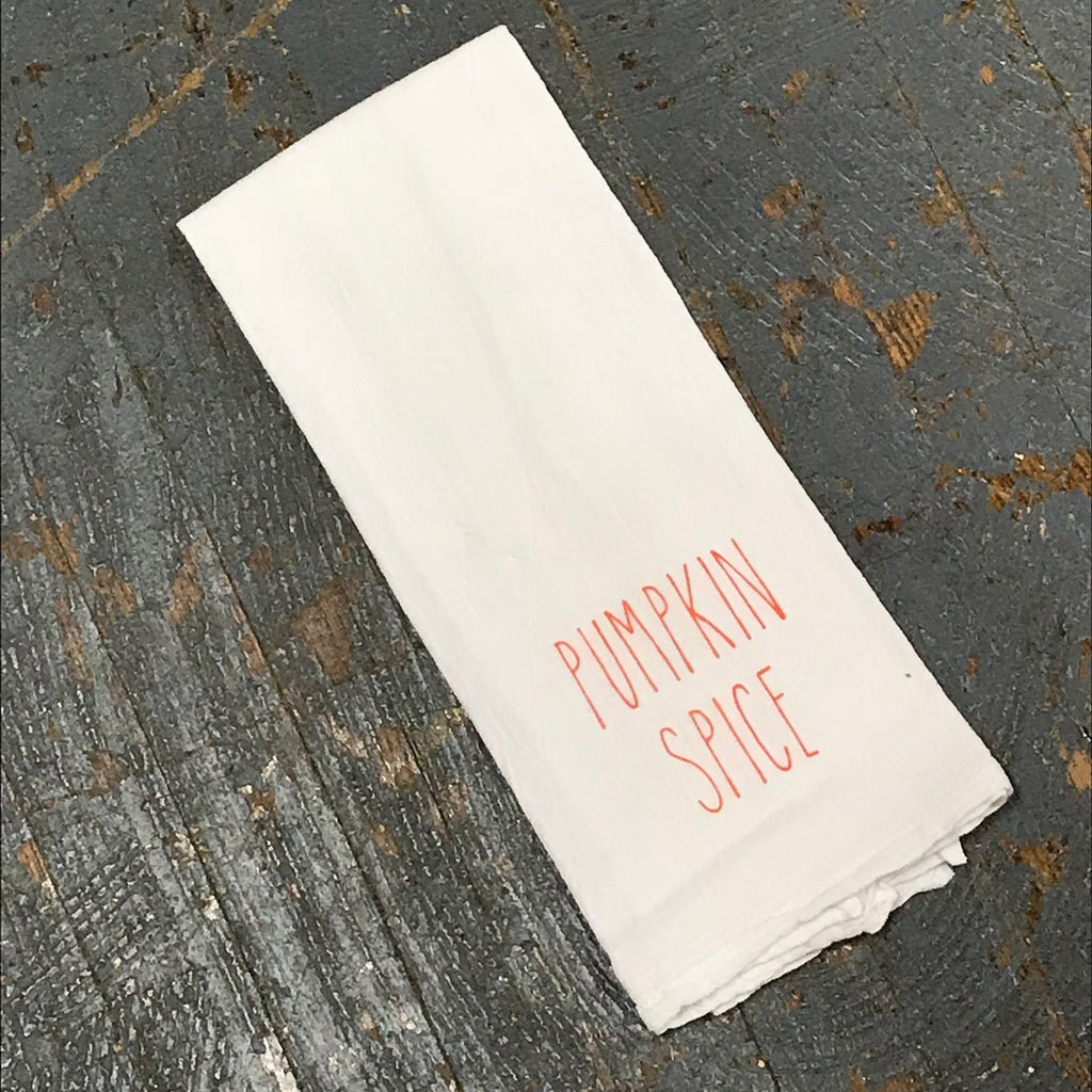 Pumpkin Spice Fall Autumn White Linen Tea Towel
