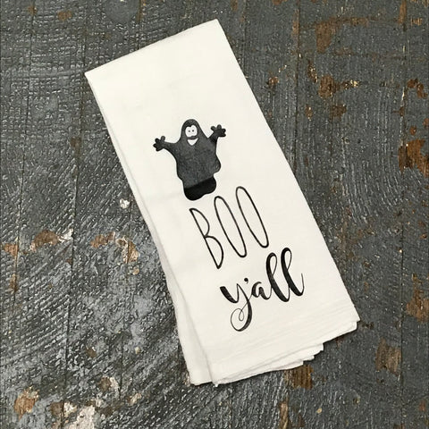 Boo Y'All Ghost Halloween White Linen Tea Towel