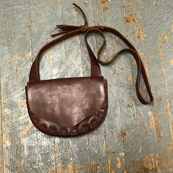 Handmade Leather Possibles Bag Crossbody Shoulder Purse Sling Tote Brown Cherry