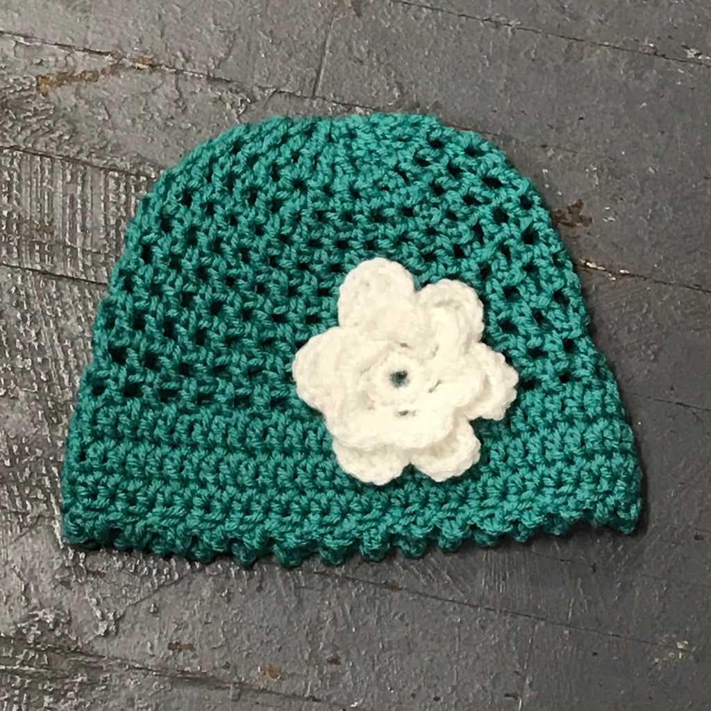 Crocheted Beanie Winter Hat Cap Teal White Flowers