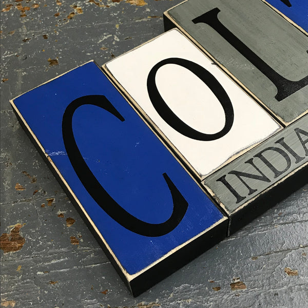 Hand Crafted Wood Word Block Set Football NFL Indianapolis Colts Decoration