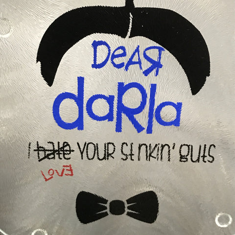 "Cutting Board 7.75"" Round Glass Vinyled Humor Little Rascals Dear Darla"