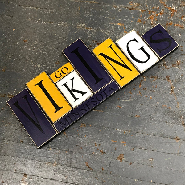 Hand Crafted Wood Word Block Set Football NFL Minnesota Vikings Decoration