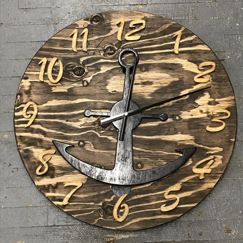 "24"" Round Nautical Wooden Anchor Clock"