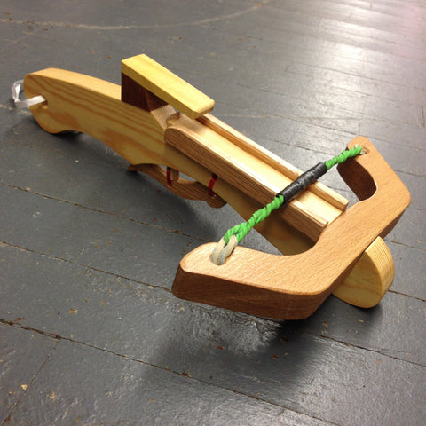 Handmade Carved Wooden Toy Prop Crossbow Marshmallow Shooter Rubberband Gun