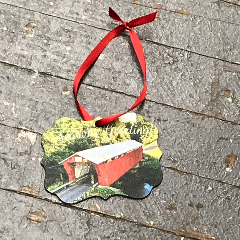 Indian Lake Ohio Covered Bridge Logan County Ornament Kevin Campbell