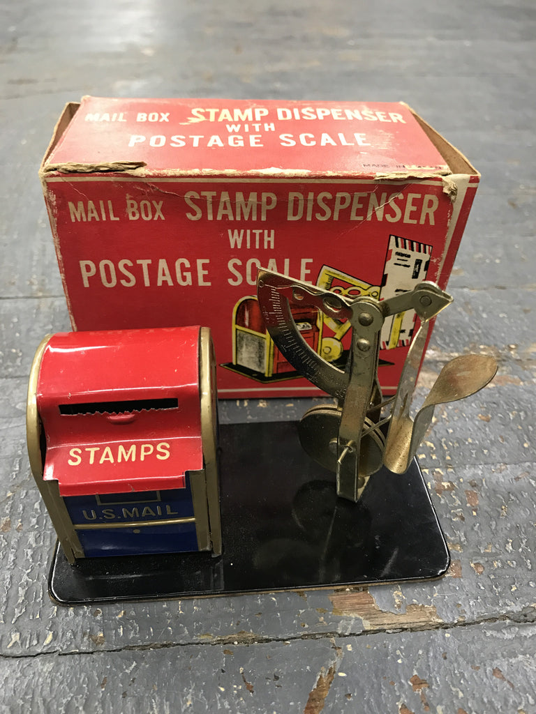 Antique Vintage Mail Box Stamp Dispenser and Postage Scale