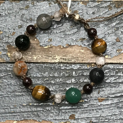 Semiprecious Gem Stone Tiger Eye Garnet Quartz Bracelet