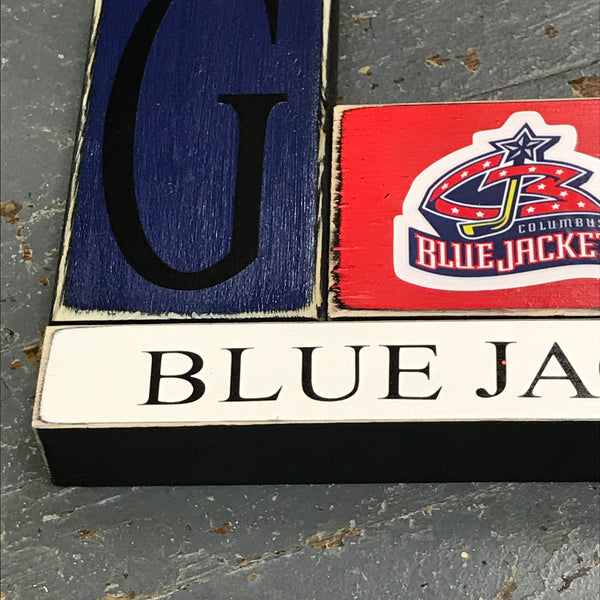 Hand Crafted Wood Word Block Set Columbus Blue Jackets Hockey Decoration