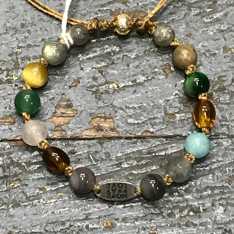 Semiprecious Gem Stone Hope Pray Love Amber Quartz Jasper Bracelet