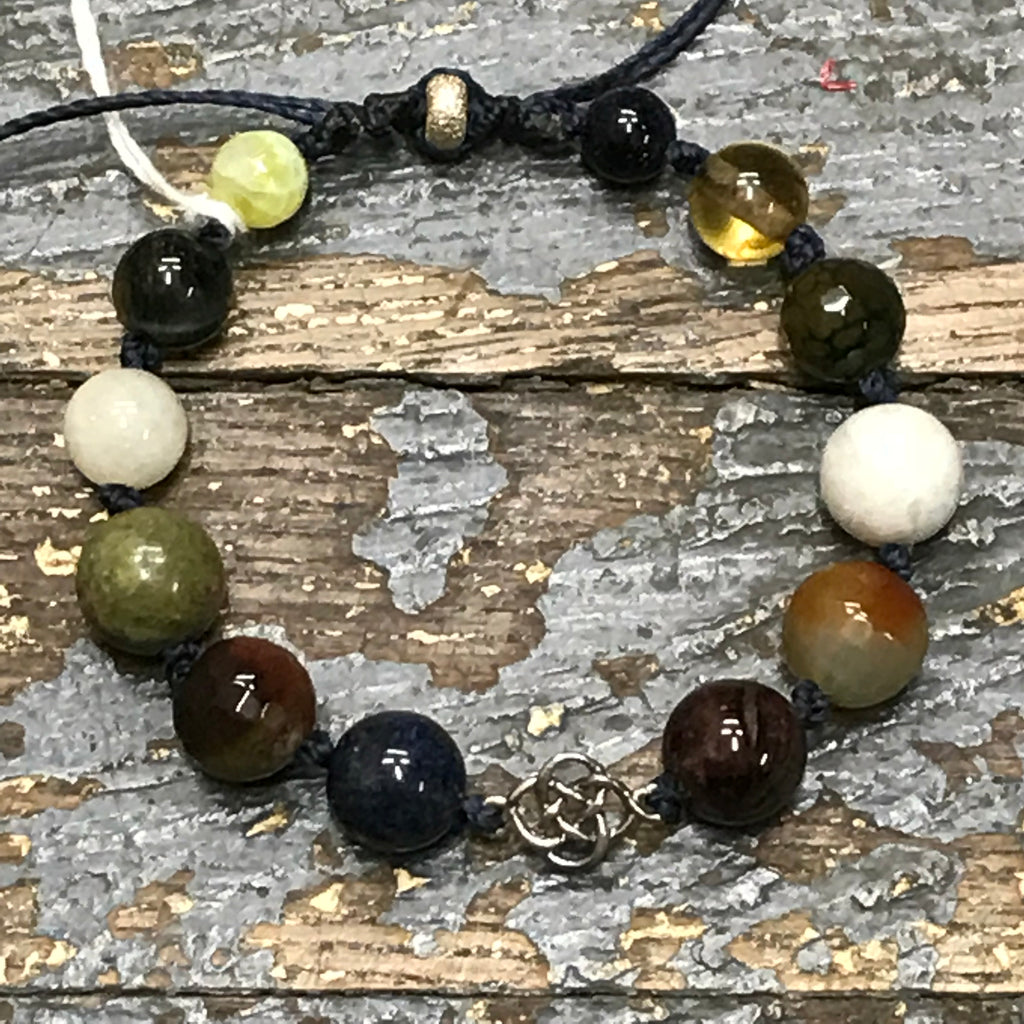 Semiprecious Gem Stone Celtic Knot Garnet Blue Tiger Eye Bracelet