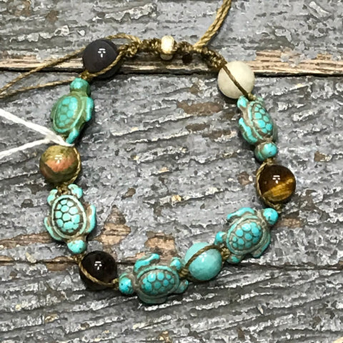 Semiprecious Gemstone Turquoise Tiger Eye Garnet Turtle Bracelet