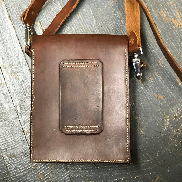 Handmade Dark Leather Possibles Bag Crossbody Shoulder Purse Belt Pouch