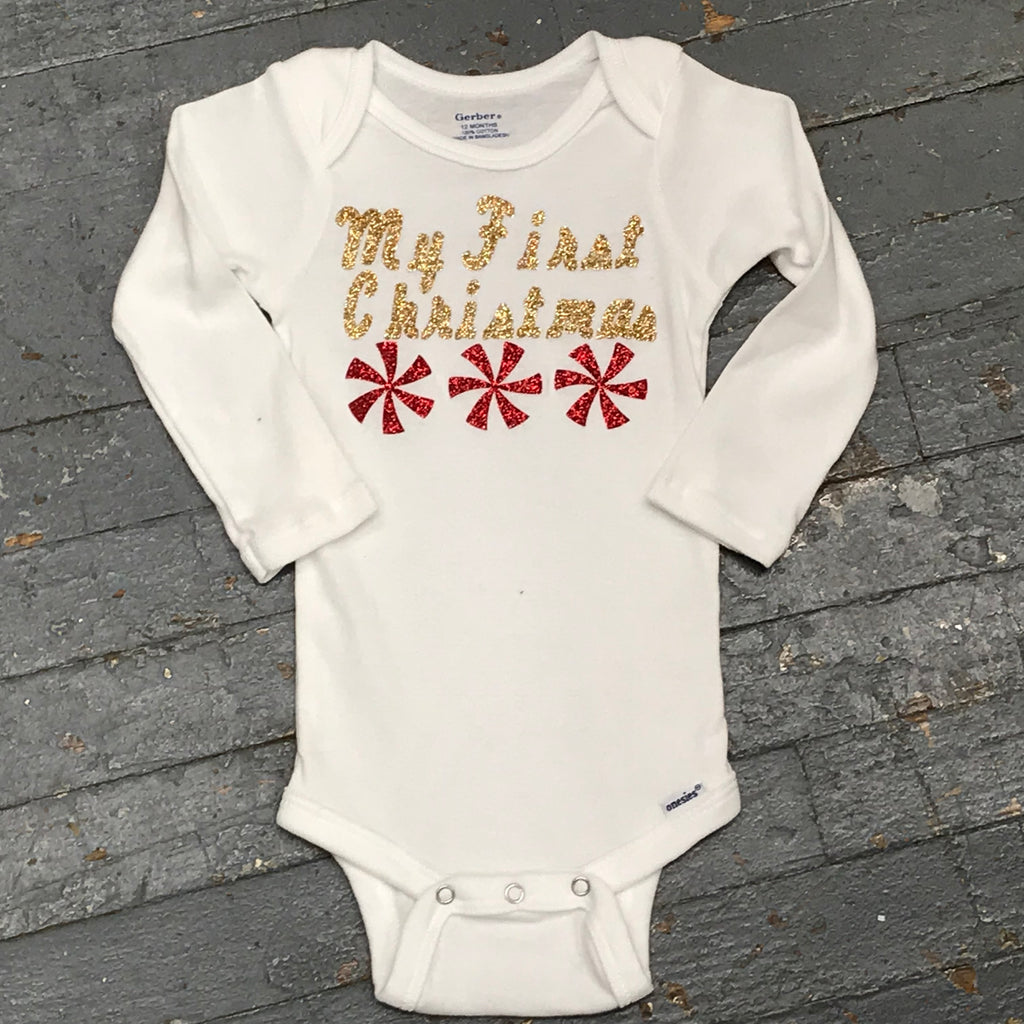 My First Christmas Holiday Onesie Bodysuit One Piece Newborn Infant Toddler Outfit