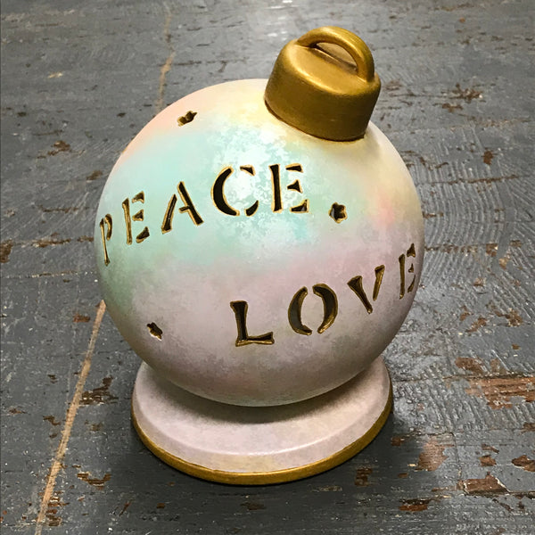 Ceramic Light Up Christmas Ornament Bulb Peace Love God is Love
