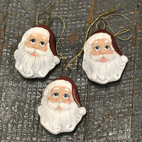 8bfc79f2 Ceramic Christmas St Nicholas Santa Claus 3pc Ornaments