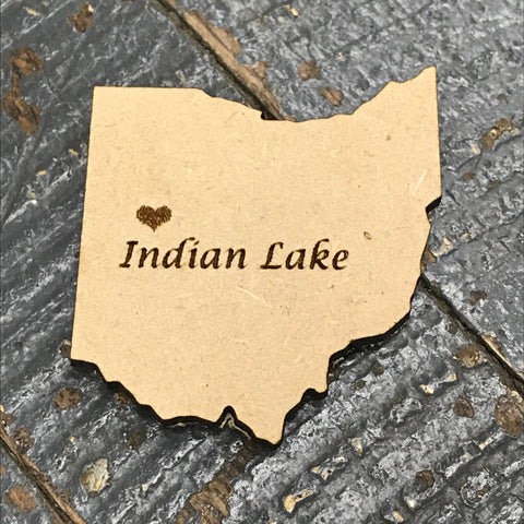 Indian Lake Ohio Wood Engraved Fridge Freezer Refrigerator Magnet