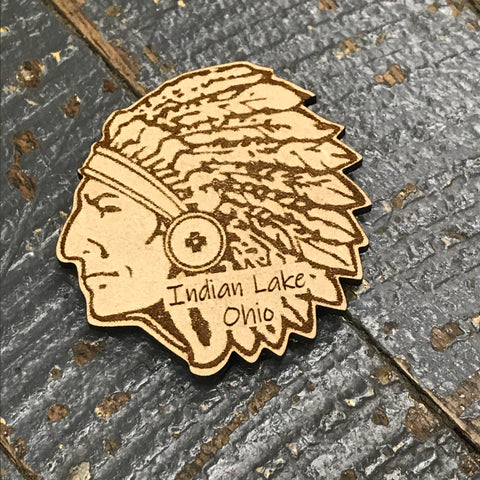 Indian Lake Ohio Indian Head Wood Engraved Magnet